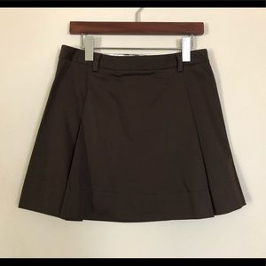 Pleated Brown Mini Skirt - Size 2